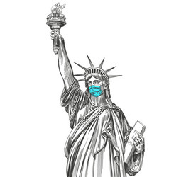 Statue liberty in a mask coronavirus is a vector