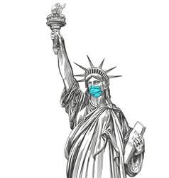 statue liberty in a mask coronavirus vector image