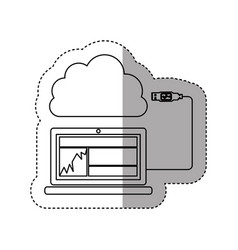 Sticker contour tech laptop with cloud storage vector