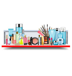 supermarket shelf with cosmetics vector image