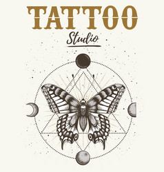 Tattoo studio poster with mystical butterfly moon vector