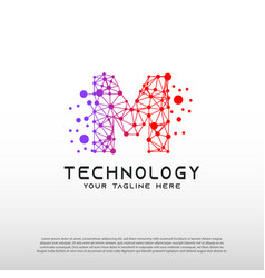 Technology logo with initial m letter network vector