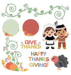 thanksgiving autumn swirl design elements vector image