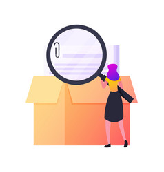Tiny female character with huge magnifying glass vector