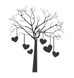 tree with hanging hearts isolated icon design vector image