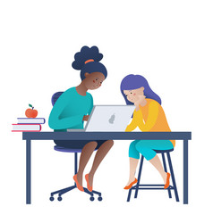 two girls doing computer science homework vector image