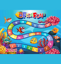 Underwater fish board game template vector