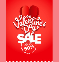 valentinesday sale voucher sale banner template vector image