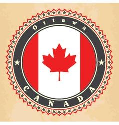 Vintage label cards canada flag vector