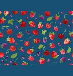 watercolor cherry strawberry raspberry black vector image