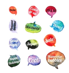 Watercolor Speach Bubbles Set of 12 pieces vector image