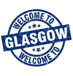 Welcome to glasgow blue stamp vector