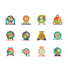wheel fortune icon circle objects lucky vector image