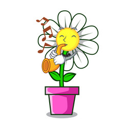 with trumpet daisy flower mascot cartoon vector image