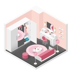 Women room isometric icon set vector image