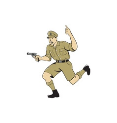 World war one british officer running pistol vector