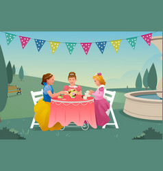 young girls having a tea party vector image
