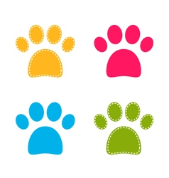 Cute colorful Doggie Paws isolated on white vector image vector image