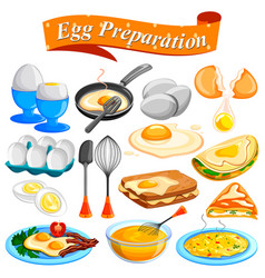 different delicious egg preparation food dishes vector image