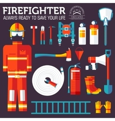 firefighter uniform and first help equipment and vector image