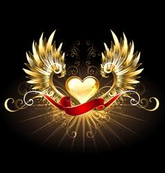 Golden heart with golden wings vector image vector image
