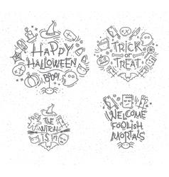 Halloween flat monograms vector image