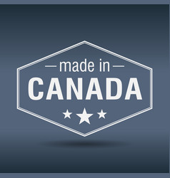 Made in canada hexagonal white vintage label vector
