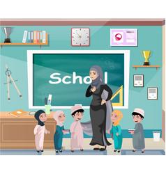muslim professor standing in front of blackboard vector image vector image