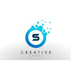 s letter logo blue dots bubble design vector image vector image