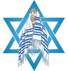 Star Of David Rabbi With Talit vector image vector image
