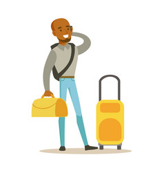 Young man standing with yellow suitcases and vector