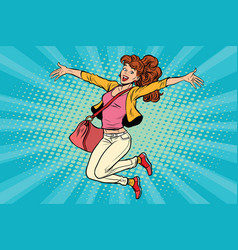 young woman jumping lifestyle vector image vector image