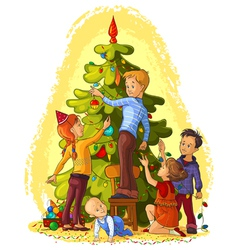 children decorating a christmas tree vector image