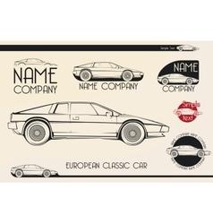 European classic sports car silhouettes logo vector image