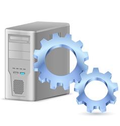 Gearwheel with computer vector image vector image