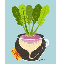 Growing Turnip with Green Leafy Top in Container vector image vector image