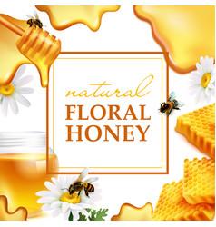 natural floral honey colorful frame vector image