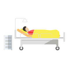 patient lying on medical bed with wheels on white vector image