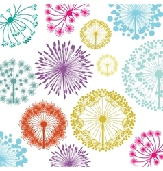 pattern with silhouette colorful dandelion vector image