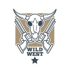 Revolvers and skull emblem vector