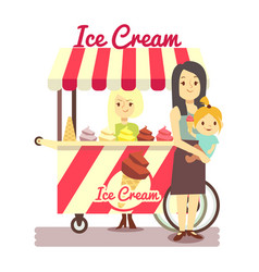 young girl sells ice cream and mother with baby vector image
