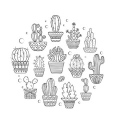 cute hand drawn cactuse set vector image vector image