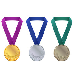 gold silver and bronze medal at winter olympic vector image vector image