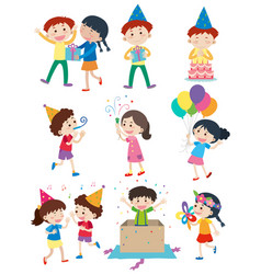 kids doing different activities at party vector image