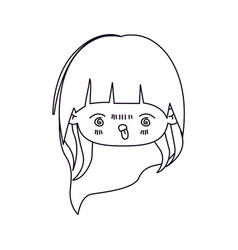 Monochrome silhouette of facial expression furious vector