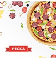 Pizza ingredients parts on chalkboard with signed vector image