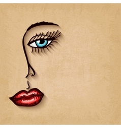 woman face blue eyes red lips on old background vector image vector image
