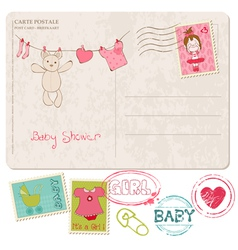 baby shower card with set of stamps vector image vector image