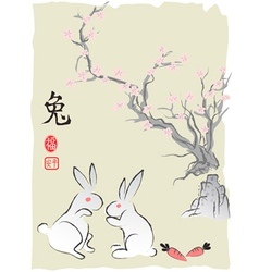 Chineses Rabbit Lunar year Ink Painting vector image vector image