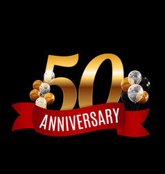 golden 50 years anniversary template with red vector image